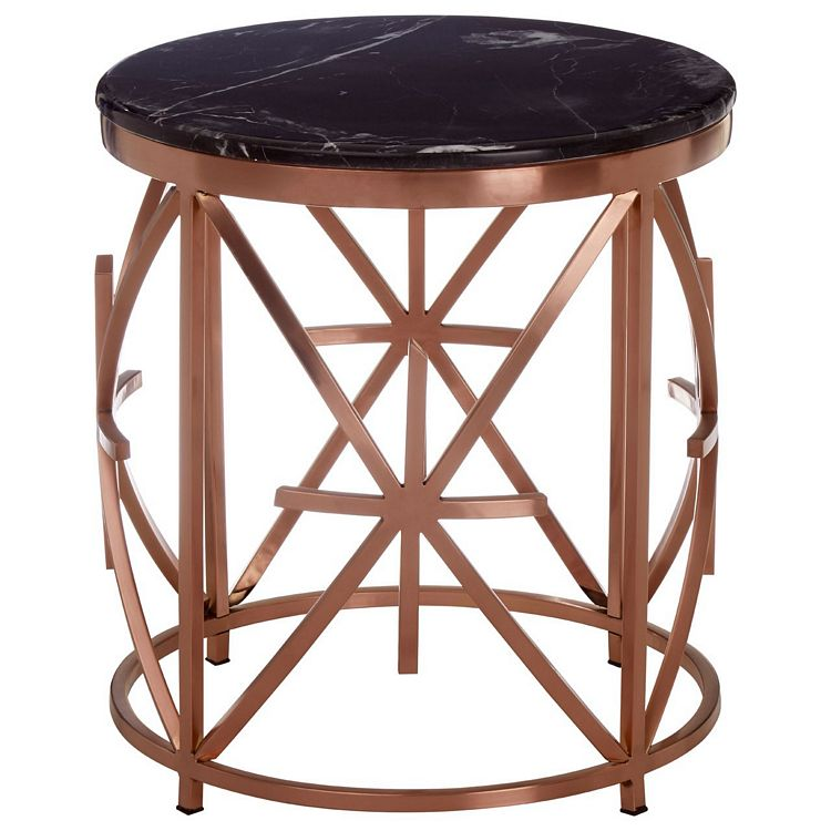 Alvaro Rose Gold Metal and Black Marble Round Side Table