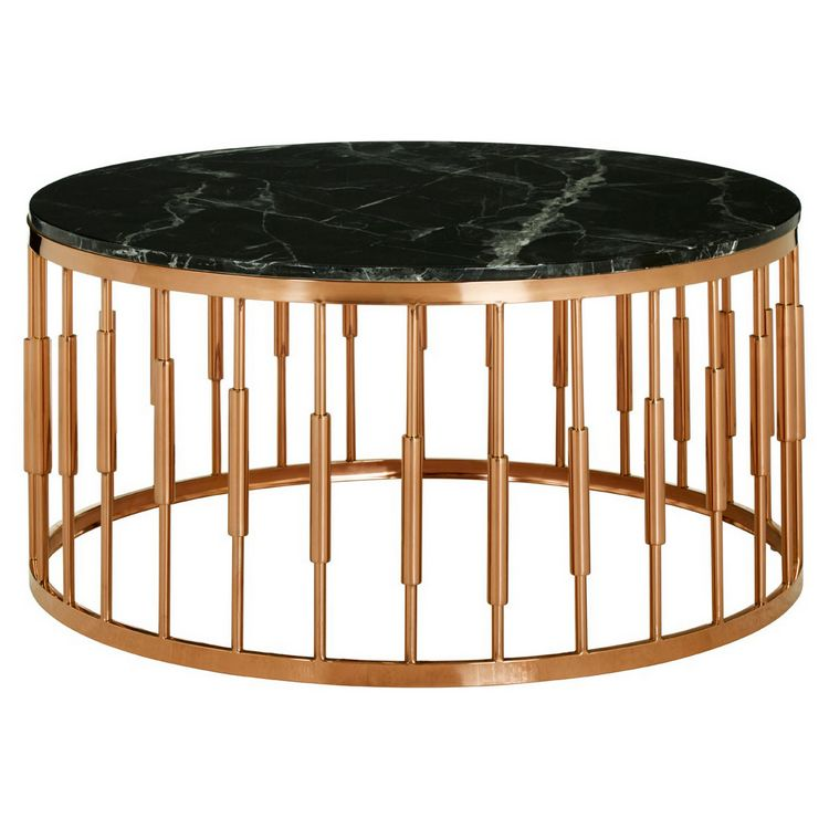 Alvaro Rose Gold Metal and Black Marble Top Round Coffee Table