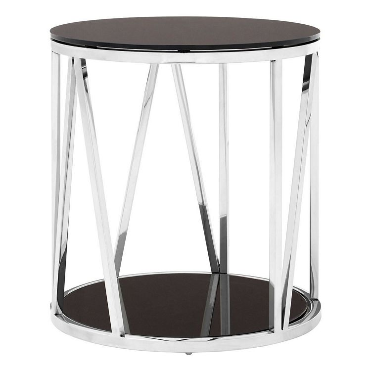 Alvaro Round Chrome Finish Metal and Black Glass Side Table