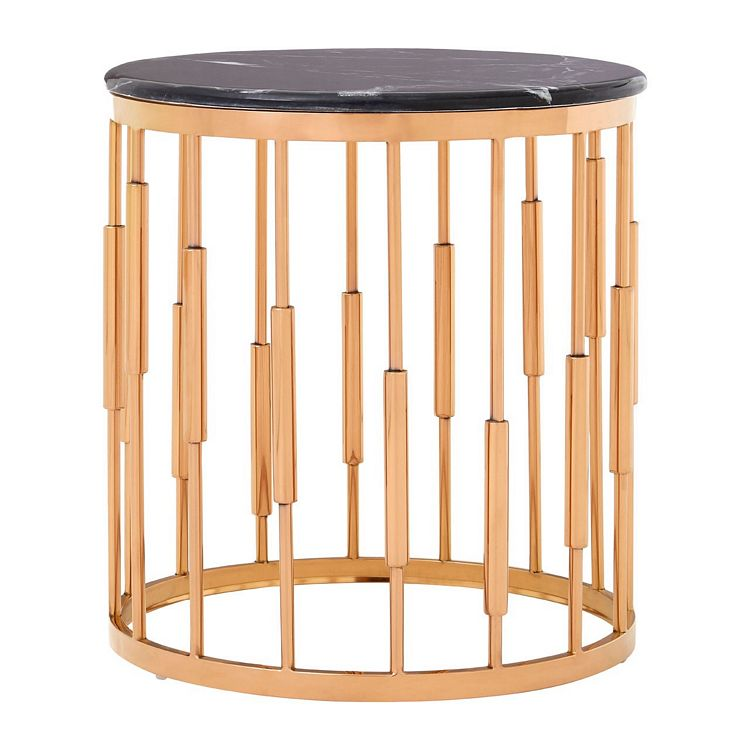Alvaro Round Copper Finish Metal and Black Marble Side Table