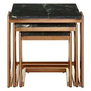 Alvaro Set Of 3 Gold Metal and Black Marble Square Nesting Tables