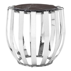 Alvaro Silver Finish Metal and Black Marble Side Table