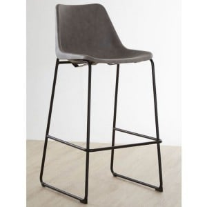 Dalston Vintage Ash Faux Leather and Metal Bar Stool
