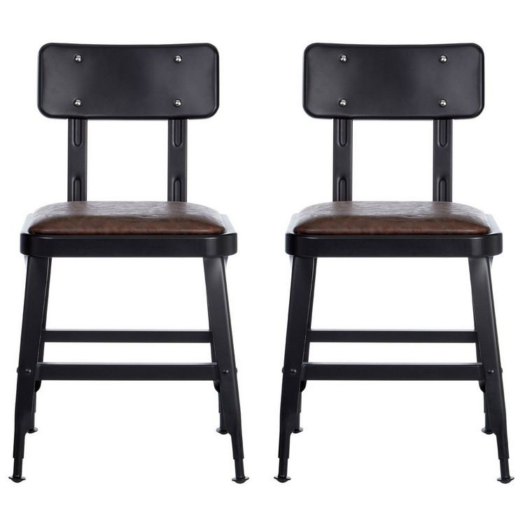 Dalston Vintage Dark Mocha Faux Leather and Metal Chair Pair