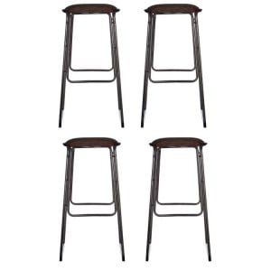 Dalston Vintage Mocha Soft Faux Leather and Metal Bar Stool Set of 4