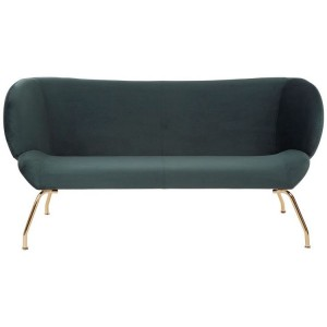 Kolding Green Fabric and Gold Finish Metal 2 Seat Winged Back Sofa