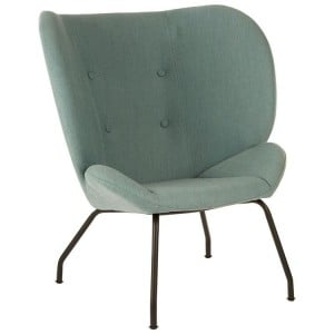Kolding Green Fabric and Matte Black Metal Wing Back Chair