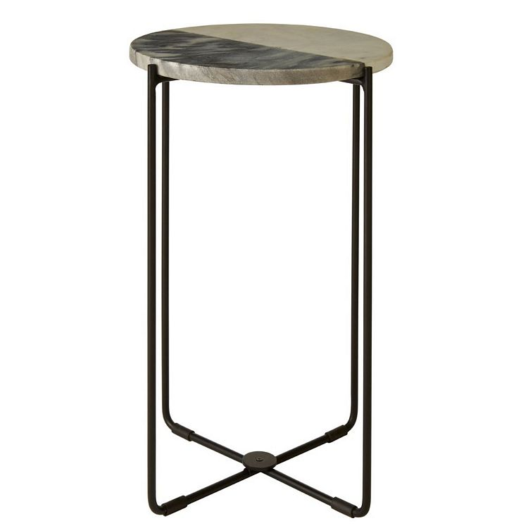 Templar Black Iron and White Marble Side Table