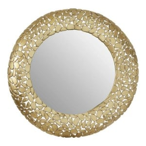 Templar Brass Finish Iron Pebble Effect Round Wall Mirror