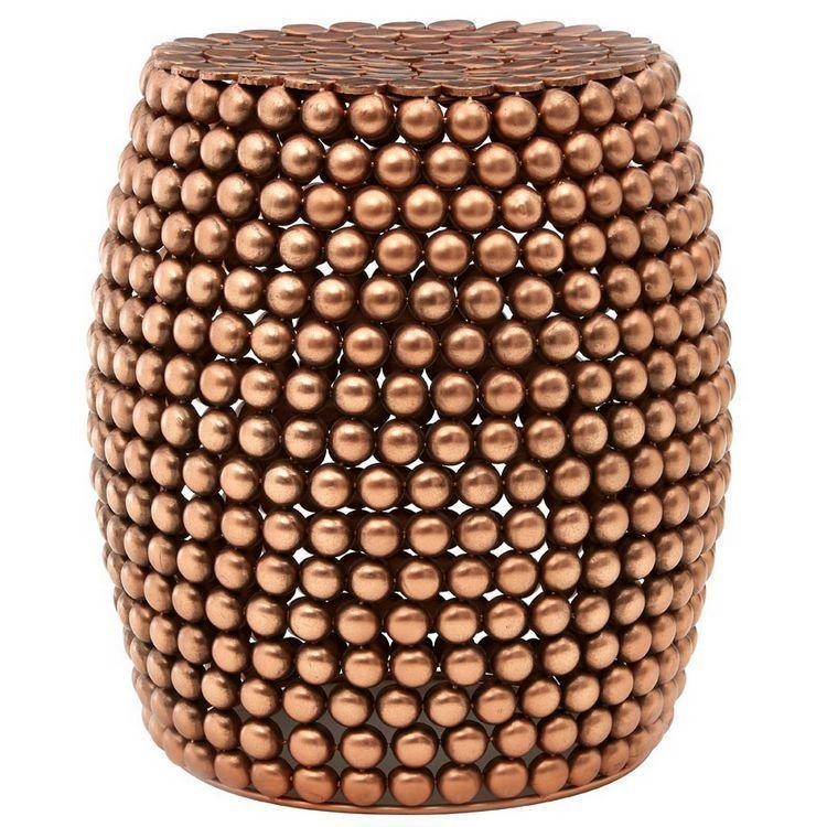 Templar Copper Finish Iron Barrel Design Beaded Stool