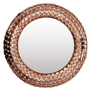 Templar Copper Finish Iron and Mirrored Pebble Effect Wall Mirror