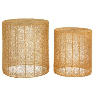 Templar Cylindrical Shape Iron Side Tables With Gold Finish