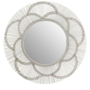 Templar Floral Effect Silver Finish Mirrored Glass Wall Mirror