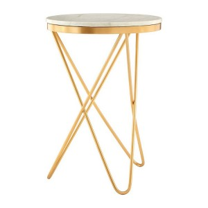 Templar Gold Finish Iron and Marble Side Table with Hairpin Legs