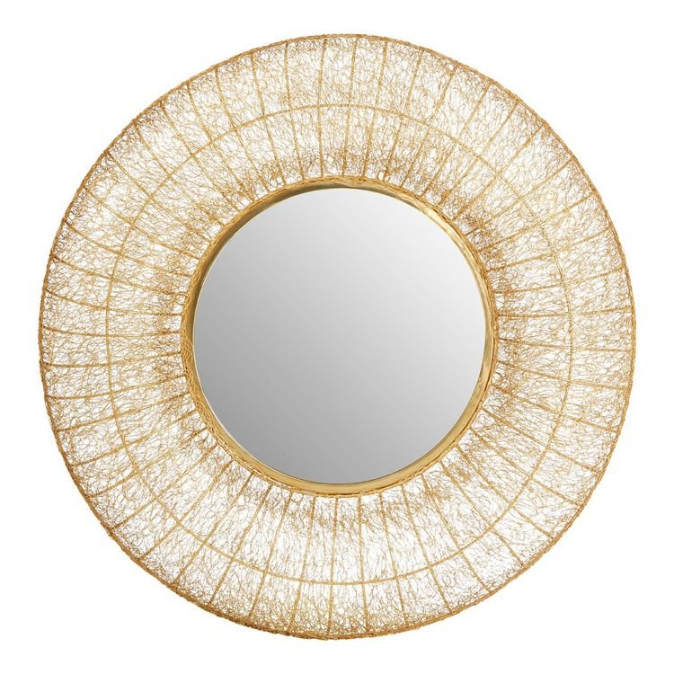 Templar Gold Finish Iron and Mirrored Glass Convex Wall Mirror