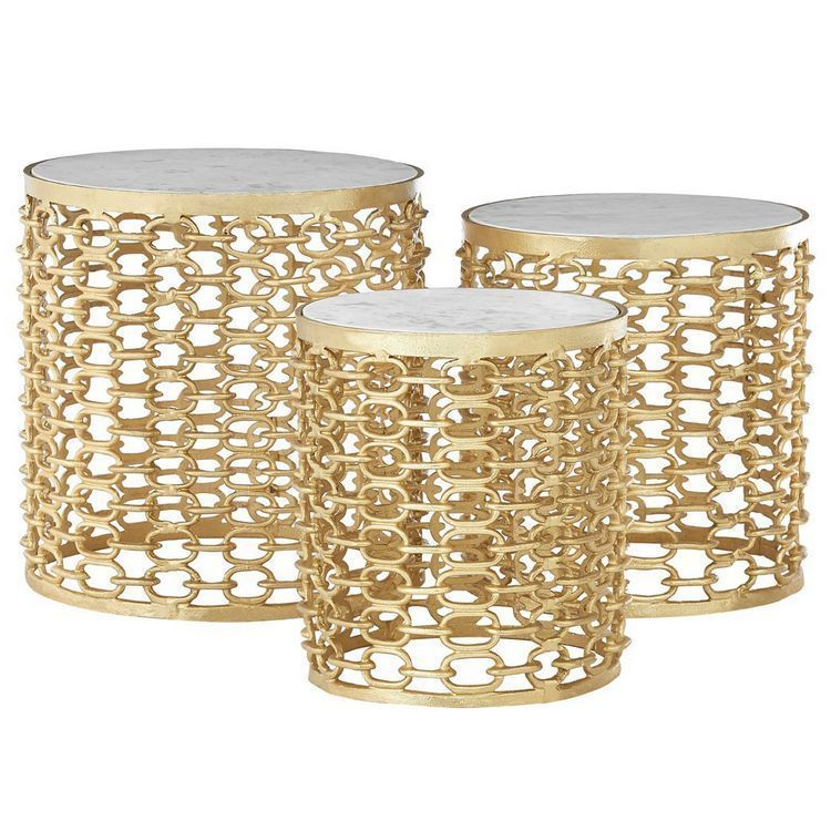 Templar Gold Finish Metal and Polished Marble Round Side Tables