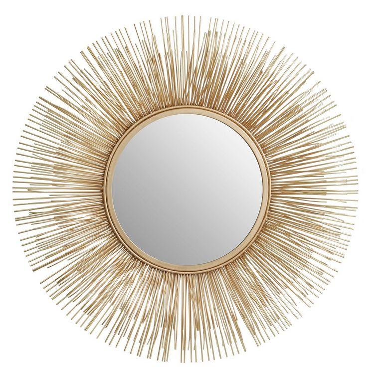 Templar Gold Finish Netal Rods and Mirrored Glass Round Wall Mirror