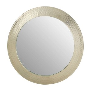 Templar Hammered Pewter Finish Iron and Mirrored Round Wall Mirror