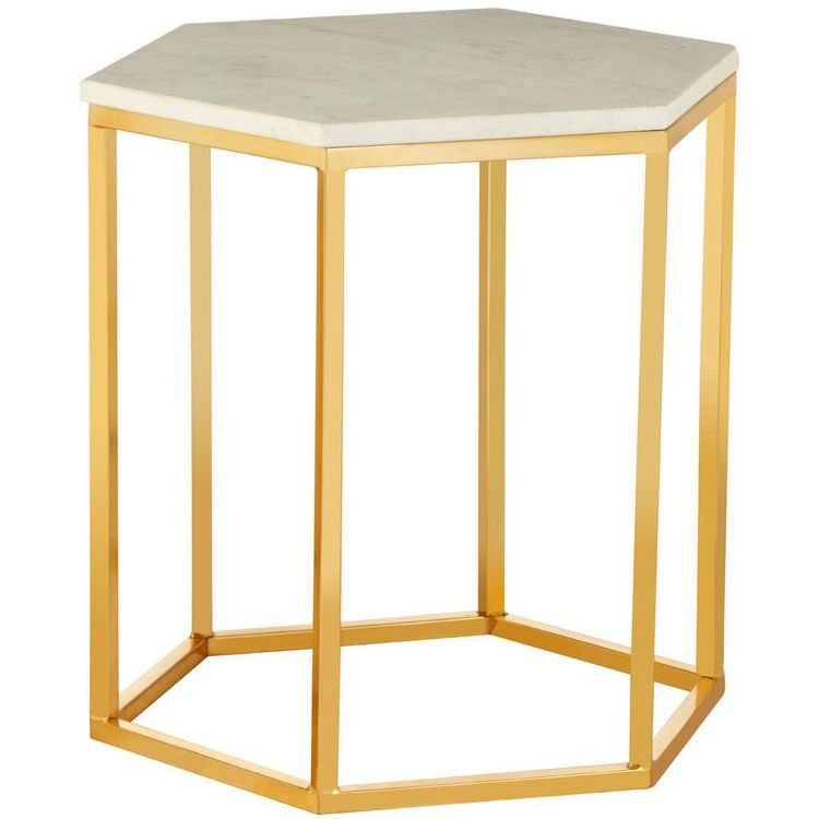 Templar Hexagonal Gold Finish Iron and White Marble Side Table