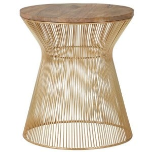 Templar Hourglass design Gold Finish Iron and Natural Wood Side Table