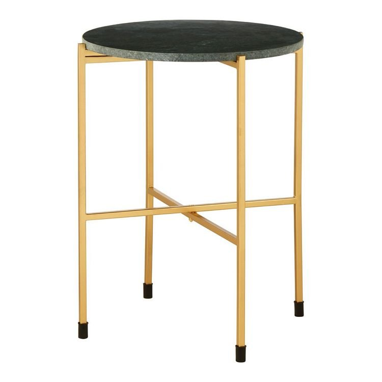 Templar Large Green Marble Top and Gold Metal Round Side Table