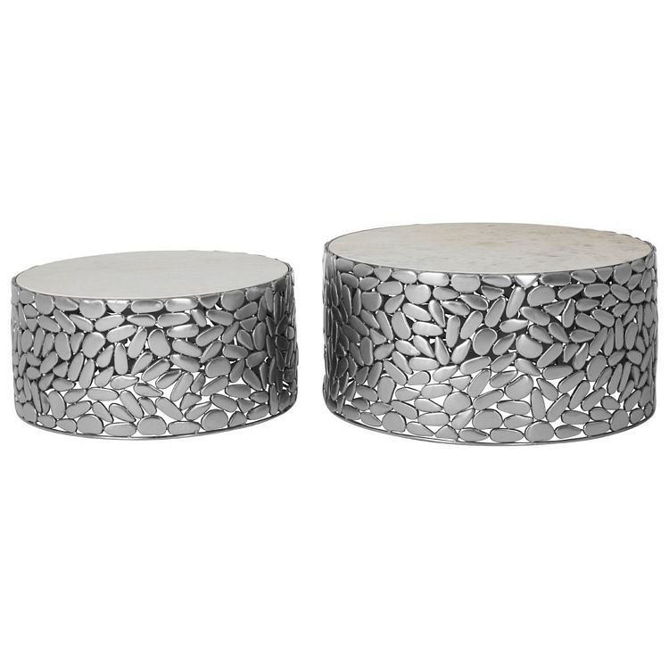 Templar Set Of 2 Antique Pewter Iron and White Stone Side Tables