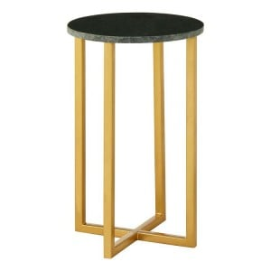 Templar Small Green Marble and Gold Finish Iron Round Side Table