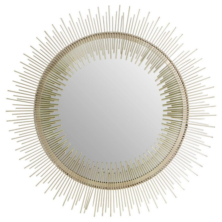 Templar Spoke Pewtar Finish Iron and Mirrored Glass Round Wall Mirror