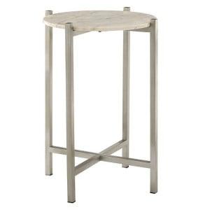 Templar White Marble Top with Lattice Iron Base Side Table