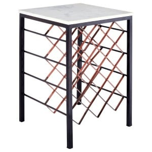 Templar White Marble and Black Iron Square Side Table
