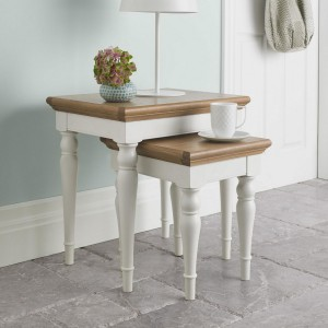 Bentley Designs Hampstead Ivory Painted Furniture Nest of Lamp Tables