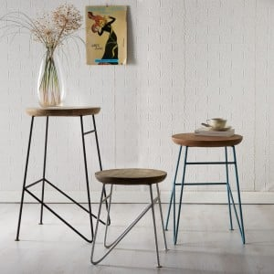 Aspen Reclaimed Iron & Wooden Furniture Round Set of 3 Stools