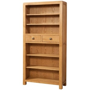 Avon Oak Furniture Tall Bookcase with 2 Drawers