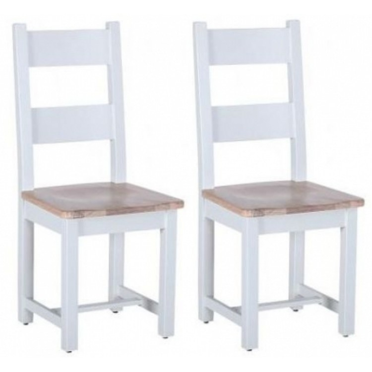 Chalked Oak and Grey Dining Furniture Two Tone Ladder Back Chair Pair