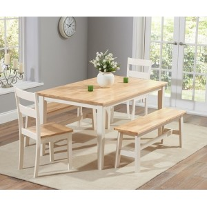 Brampton Cream Painted Dining Table 150cm 2 Benches and 2 Chairs