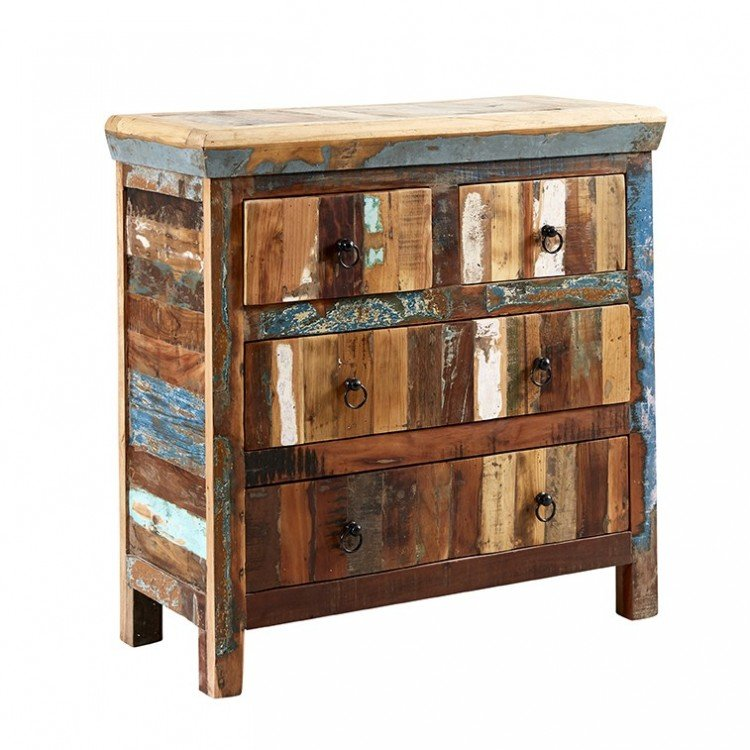 Coastal Reclaimed Wood Furniture 4 Drawer Chest