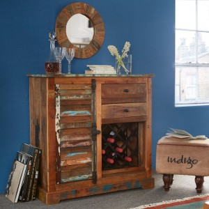 Coastal Reclaimed Wood Furniture Small Sideboard with Wine Rack