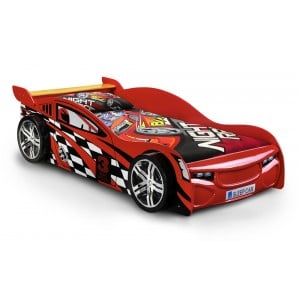 Julian Bowen Furniture Mickey Kids Red Racing Car Single 3ft Bed