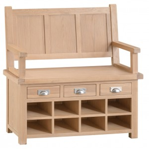 Langham Lime Washed Oak Monks Bench