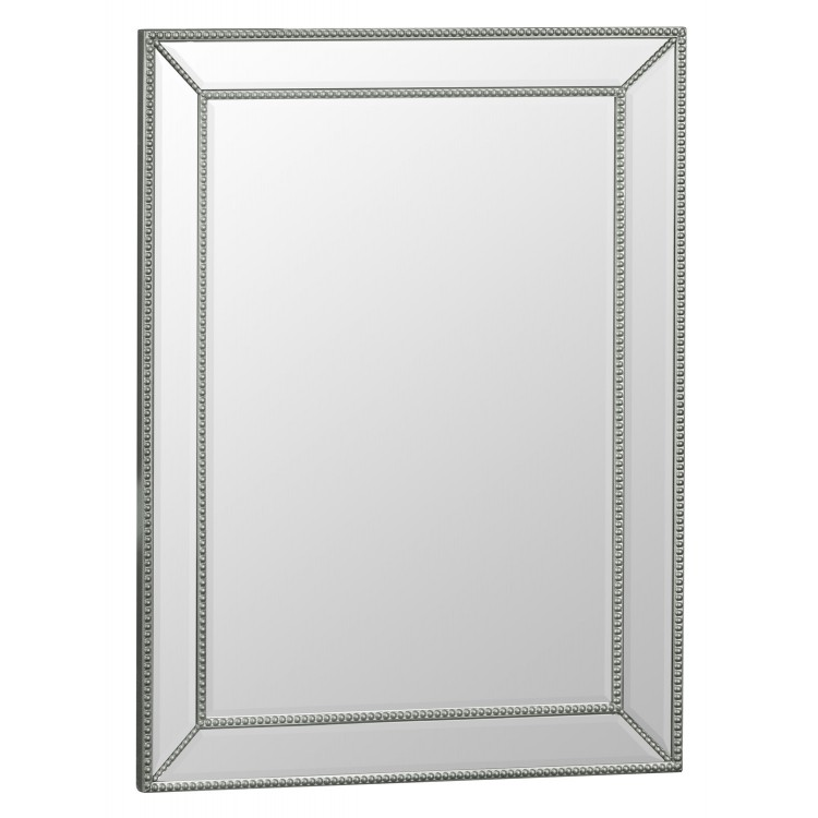 Florence Rectangular Silver Wooden and Glass Frame Mirror 80 x 105