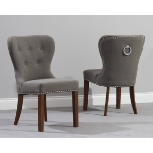 Kalim Grey Fabric Dark Wood Dining Chair Pair