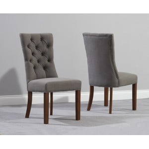 Albury Grey Fabric Solid Dark Oak Furniture Dining Chairs Pair