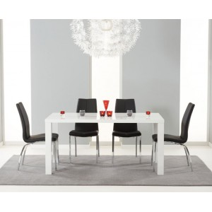 Ava 160cm High Gloss White Dining Table & 4 Black Carsen Chairs