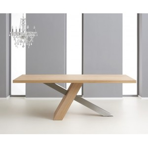 Montana Oak and Metal Furniture Dining Table 195cm