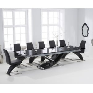 Hanover 210cm Glass Furinture Extending Table & Grey Z Chairs