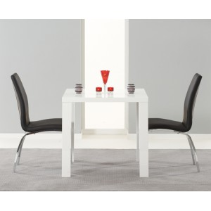 Ava High Gloss Furniture 80cm Dining Table & 2 Black Carsen Chairs