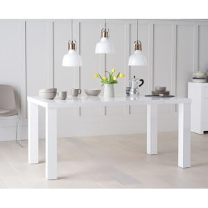 Ava High Gloss Furniture 160cm White Dining Table