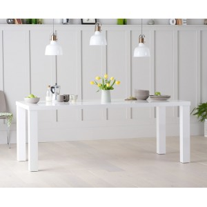 Ava High Gloss Furniture 200cm White Dining Table