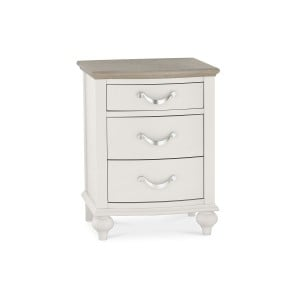 Montreux Grey & Washed Oak Furniture 3 Drawer Nightstand