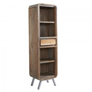 Aspen Reclaimed Iron & Wooden Furniture Narrow Bookcase
